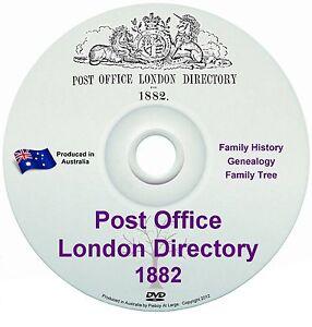 England Britain Family History Tree Genealogy Post Office London Directory 1882