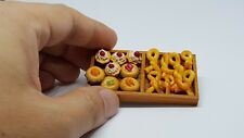 Bakery and bread set of wood tray for dollhouse miniature party food