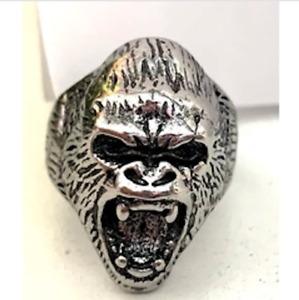 LARGE GORILLA FACE METAL RING mens biker punk animal ape monkey scary brx016 new