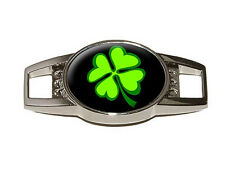 Four Leaf Clover - Lucky - Irish on Black Shoe Sneaker Shoelace Charm Decoration