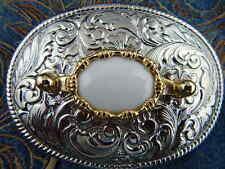 NUOVA Argento realizzato a mano in metallo fibbia della cintura BIANCO DOLOMITE Cowboy Western Goth