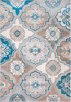 """Transitional Taupe Blue Modern 8x10 Area Rug Floral Carpet Actual 7'10"""" x 10'5"""""""