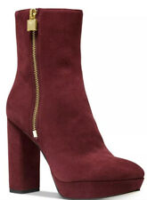 Michael Kors Frenchie Platform Booties Ankle Boots Suede Heels Brandy 7.5 M $199