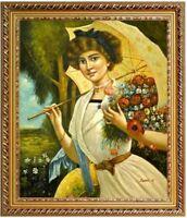 Ölbild Portrait Lady mit Blumen, Emile Vernon, Ölgemälde HANDGEMALT,50x60cm