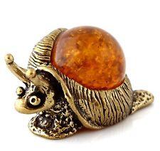 Honey Baltic Amber Snail Solid Brass Miniature Animal Figurine Sculpture