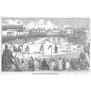 CRICKET Match at Lord's Grounds - Antique Print 1842