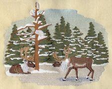 Embroidered Fleece Jacket - Reindeer Pair Scene M1929 Sizes S - XXL