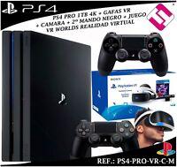 PS4 PLAYSTATION 4 PRO 1TB 2 MANDOS NEGROS GAFAS VIRTUALES JUEGO VR CAMARA SONY