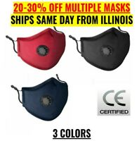 Reusable Washable Adjustable Cloth Face Mask With Breathing Valve & PM2.5 Filter