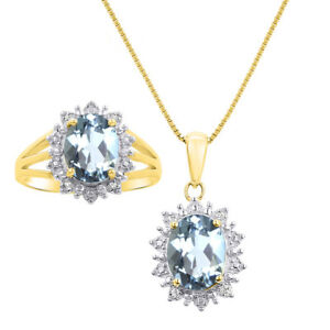 Princess Diana Inspired Halo Diamond & Aquamarine Matching Pendant Necklace and