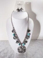 Silver Cowgirl Hat Turquoise Horseshoe Horse  Pistol Charm Necklace Earring Set