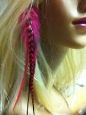 Clip On 4-7 inch Red and Grizzly 100% Real Hair 5 Feathers Extension bonded at