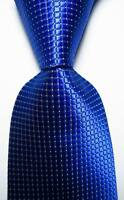 New Classic Checks Blue White JACQUARD WOVEN 100% Silk Men's Tie Necktie