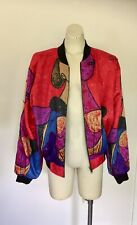 Women's Pablo Picasso Red Windbreaker Hip Hop Bomber Jacket M