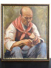 SUPERBE PEINTURE POSTIMPRESSIONNISTE VERS 1910-PORTRAIT D'UN PAYSAN-ANONYME...