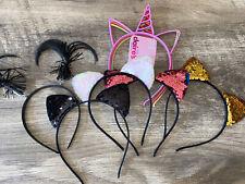 Youth Girls Headbands Lot Of 8 Unicorn And Sparkly Cat Ear Headbands.