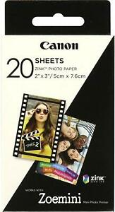 Canon Zoemini Zink Instant Camera Photo Paper (Pack of 20 Sheets)