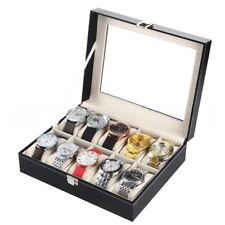 10 Slot Watch Box Leather Display Jewelry Case Organizer Glass Jewelry Storage