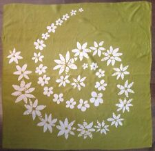 Large Square Scarf, Daisy Floral Spiral in Light Olive Green with White Flowers,