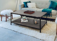 "Zenvida 48"" Coffee Table With Storage Shelf Rectangular Industrial Modern Metal"