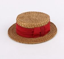 Vtg Handmade c.1920s Tan Straw Red Fabric Hatband Boater Skimmer Hat Cap