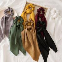 Women Elastic Satin Bow Hair Scarf Hair Tie Hair Rope Hair Band Scrunchies New