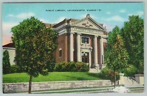 Leavenworth Kansas~Public Library~1940s Linen Postcard