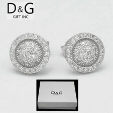 Brilliant Cz 9mm Round.Push-Back*Earring*U nisex.Box Dg Men's Sterling Silver 925