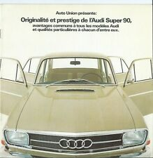 Audi Super 90 Brochure Prospekt Depliant 1967 Frernch Language Excellent
