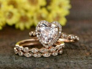 2 Ct Heart Shape Morganite Gorgeous Diamond Trio Wedding Ring 14K Rose Gold Over