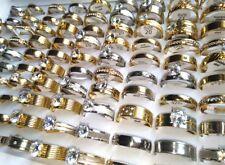 NEW 10pcs TOP Mix men women Zircon Rhinestone Stainless Steel CZ Wedding Rings