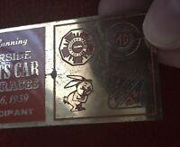 {Vtg 1959} CALIFORNIA Sports Car Club CORVETTE/ MG Racing Dash Plaque LONG BEACH