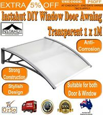 Instahut DIY Window Door Awning Transparent 1 x 1M Sturdy Aluminium Bar Durable