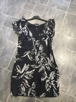 OASIS SIZE 10 BLACK & WHITE FLORAL FLOATY SUMMER LINED CAP SLEEVE RUFFLE DRESS