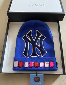 NWT Gucci Mens Wool New York yankees Beanie Hat Blue Size M Italy