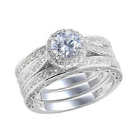 Wedding Rings For Women Engagement Ring Set 925 Sterling Silver 2.4ct Round Cz