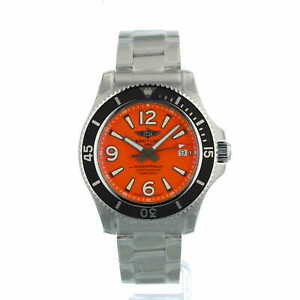Breitling Superocean Automatic 42 A17366 Orange Dial Box and Papers Unworn 2021