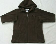 Columbia Hooded Sweatshirt Brown Polyester Fleece Woman's Top Solid Size Large