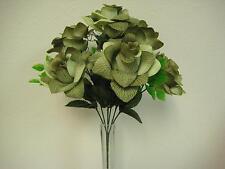 "2 Bushes GREEN Open Roses Artificial Silk Flowers 15"" Bouquet 7-039DGR"