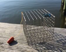 #CT1, Miniature Crab Trap (Crab Pot), Silver, with One Crab