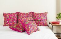 "16"" DUPIONI SILK EMBROIDERED PAISLEY PILLOW CUSHION COVER Throw Indian Decor"