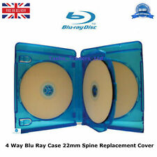 2 x 4 Way Blu ray Cases 22 mm Spine 2.2 cm Holding 4 Disks Replacement Cover