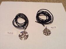 Two Celtic Knot Pendants Silver 925 With Black Leather Necklaces