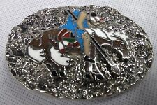 Handcrafted USA  Native American SSI Belt Buckle Pewter Turquoise