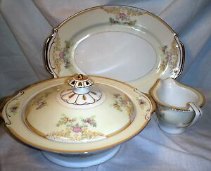 Empress China 30's Glenmore Collection Creamer, covered veg dish, oval platter