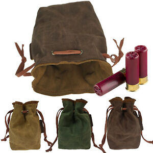Drawstring Canvas Ammo Pouch Bag for .22 22lr .38 .45 Gun Ammo Carrier Pouch