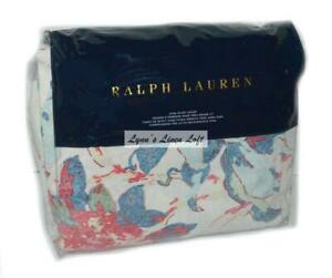 RALPH LAUREN King Duvet VERONIQUE ESTELLE $430 NEW COTTON Blue Red Pink