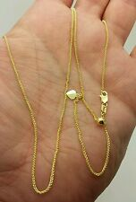 """10k Solid Yellow Gold Adjustable Wheat Necklace Pendant Chain Up to 22"""" 1.0mm"""