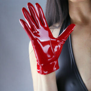 Women Faux Leather Gloves Shiny Wet Look Latex Like Wrist Gothic Stage Cosplay