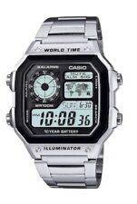 Casio Men's World Time Illuminator Stopwatch 5 Daily Alarms 4 Time Zones Display